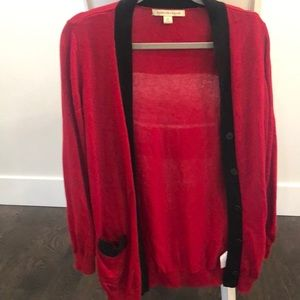 Sweaters - Red and black long cardigan